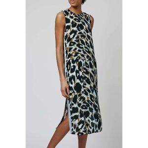 Topshop Boutique Leopard Print Silk Midi Dress